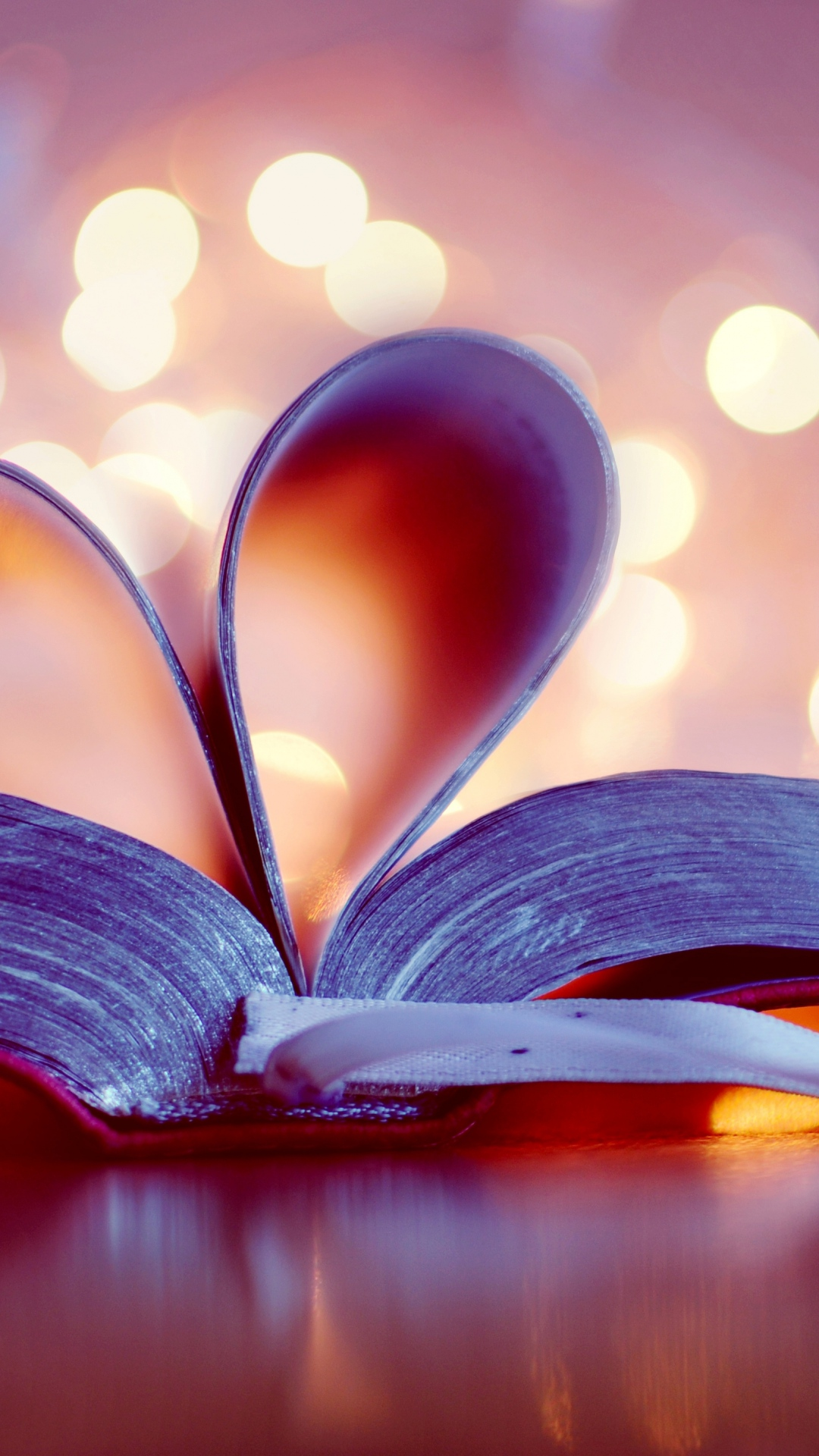 Book Love Heart Bokeh Android wallpaper