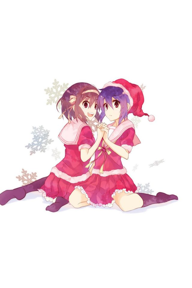 Cute Anime Chirstmas Art Illust Girls Android wallpaper