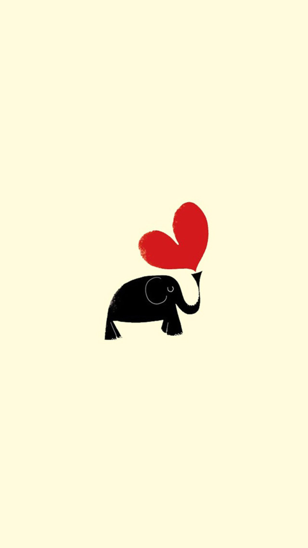 Cute Little Dark Elephant Red Love Heart Drawn Art Android Wallpaper