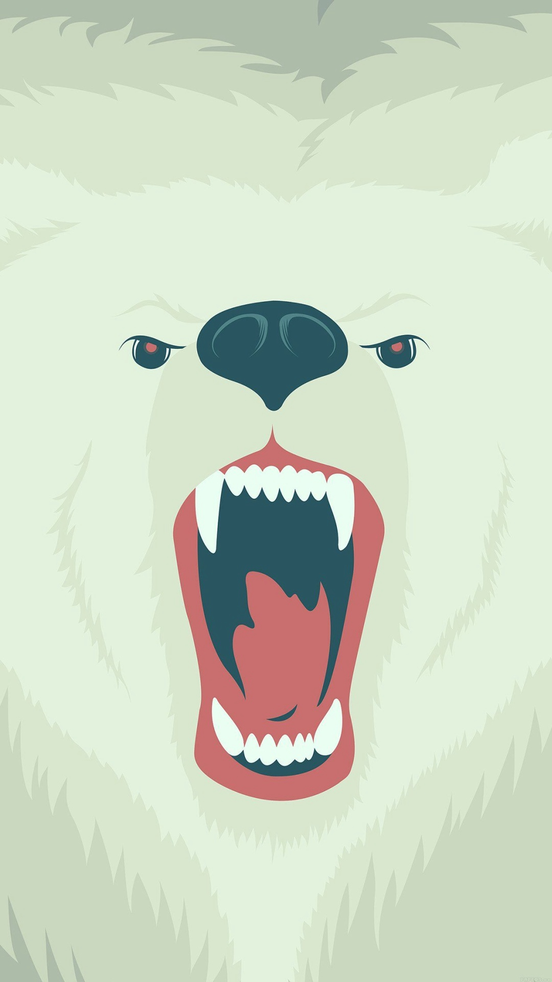 fierce polar bear winter cartoon illust android wallpaper android hd wallpapers