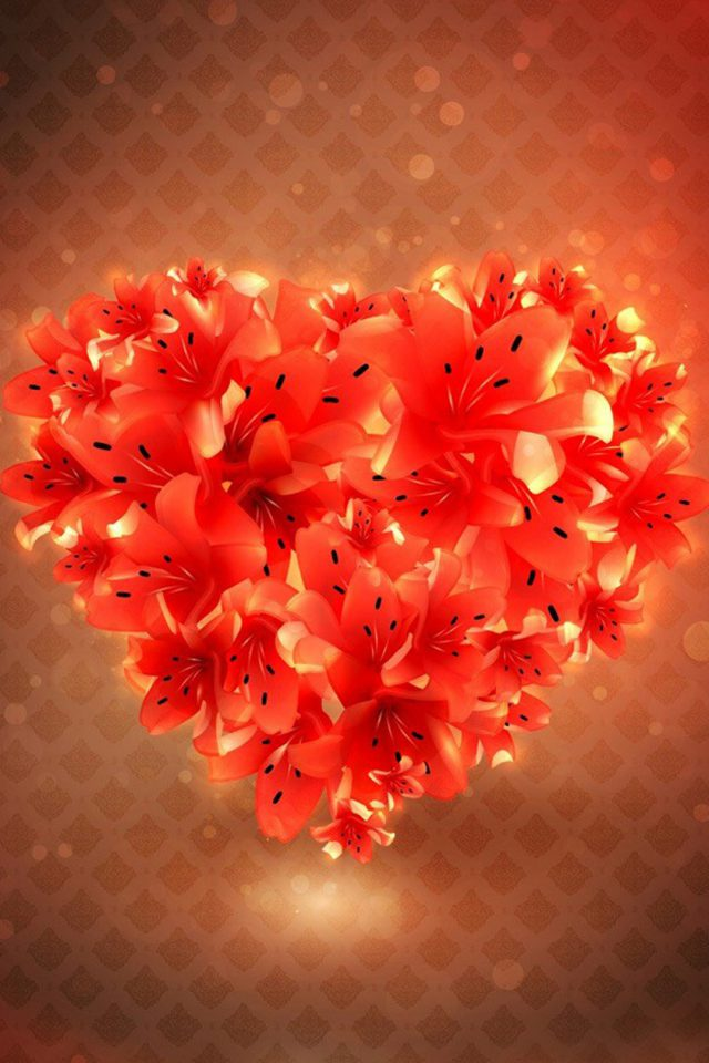 Flower Love Heart Android wallpaper