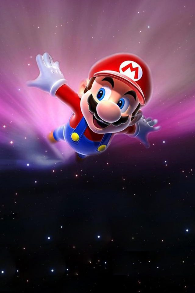 Mario flying in space Mac Android wallpaper