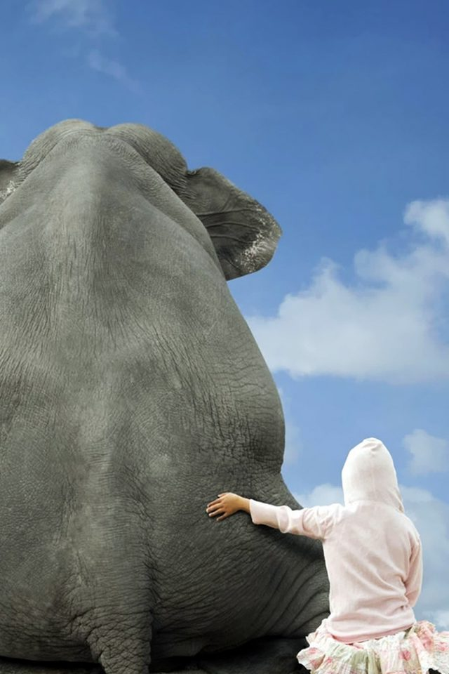 Funny Girl and Elephant Android wallpaper