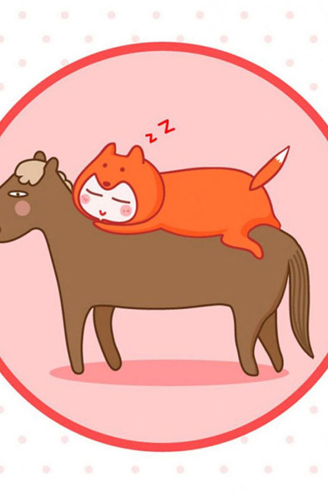 Funny Cat and Horse Sleeping Android wallpaper