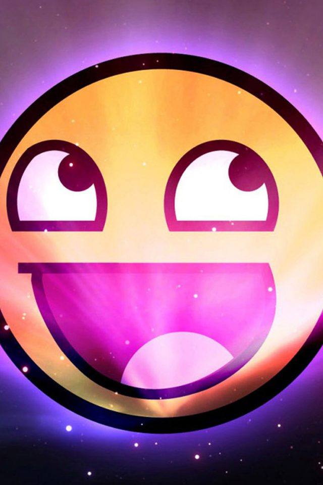 Funny Emoticon Space Purple Android wallpaper