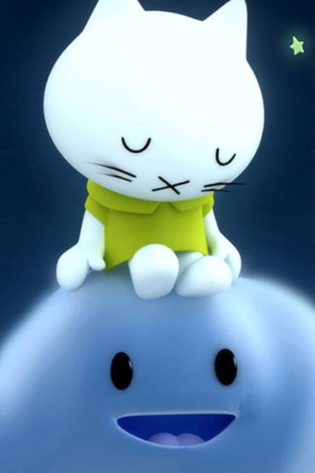 Sleeping Hello Kitty Green Shirt Android wallpaper