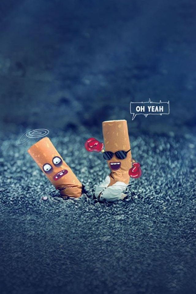 Fighting Cigarette Funny Android wallpaper