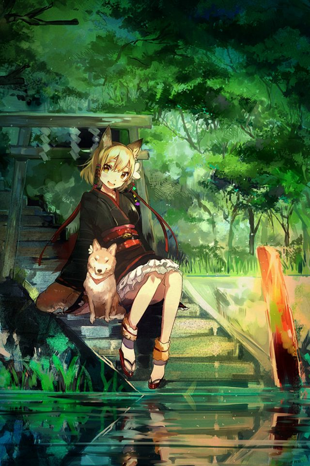 Girl And Dog Green Nature Anime Art Android wallpaper