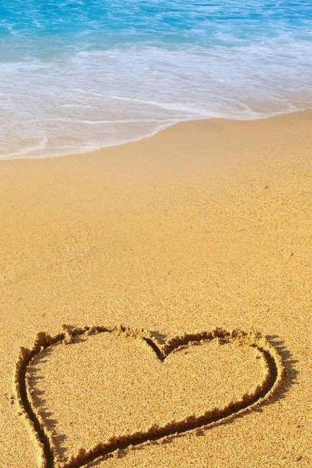 Love Sandy Beach Wave Android wallpaper