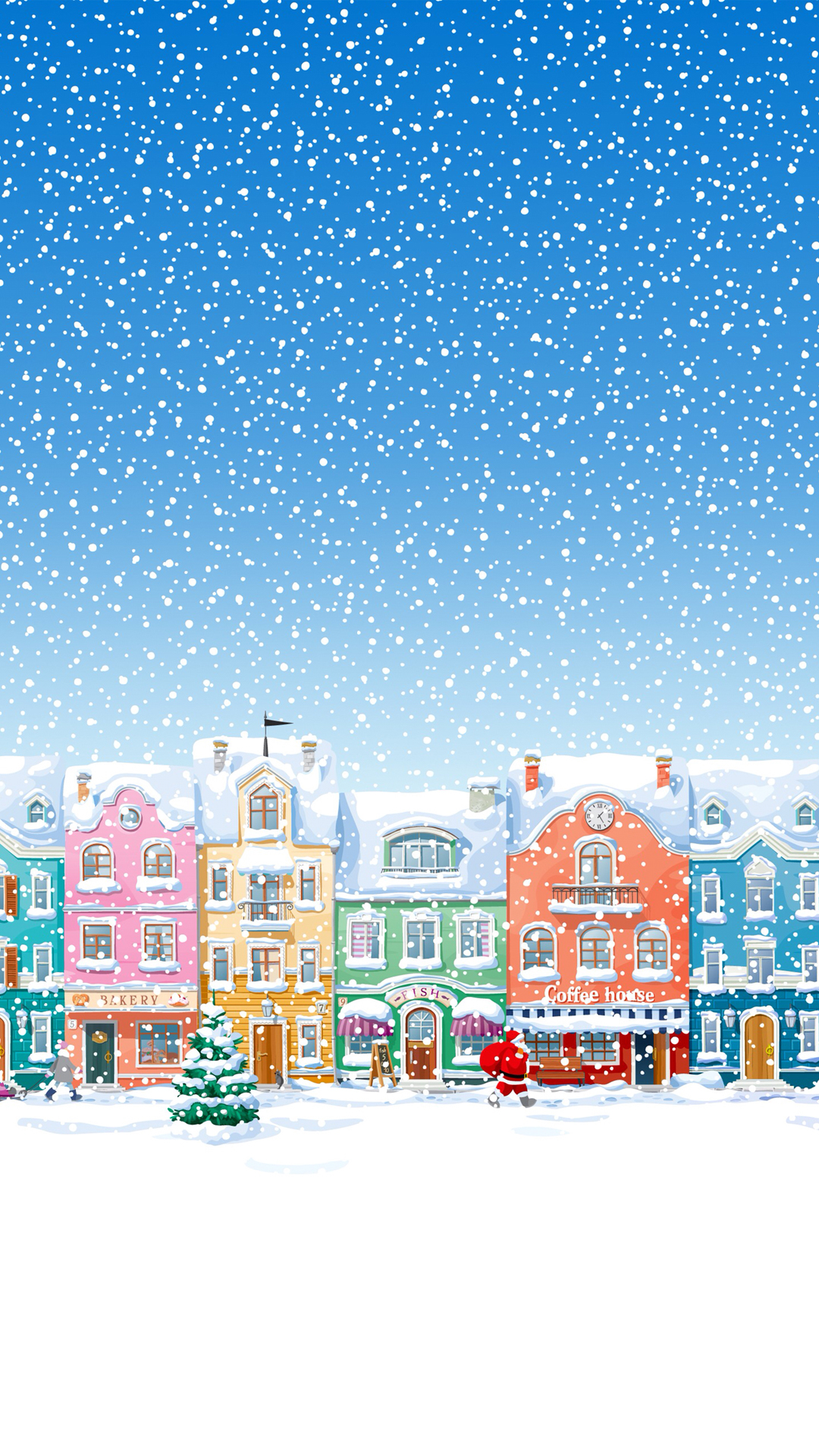Snowy Town Santa Claus Delivering Christmas Presents Android Wallpaper