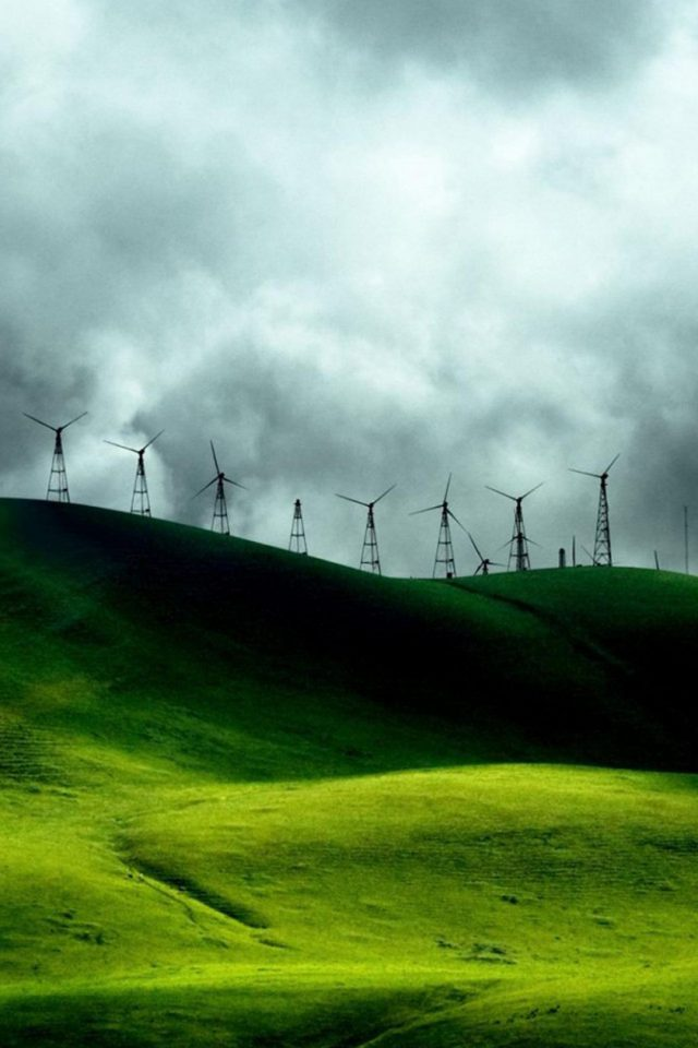 Turbines Landscape Mountains Android wallpaper