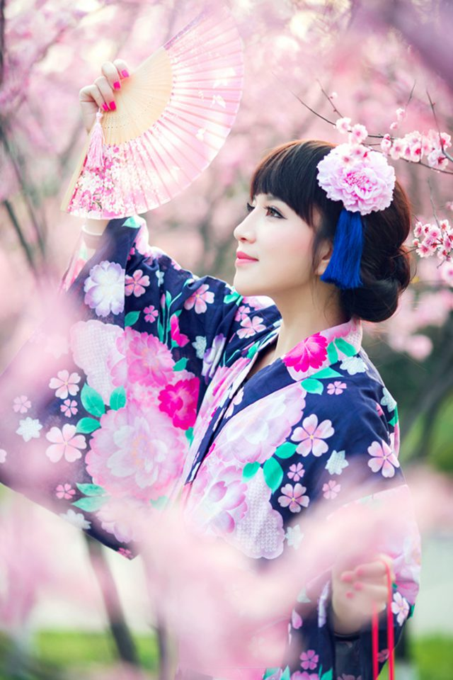 Cherry Blossoms Girl Android wallpaper