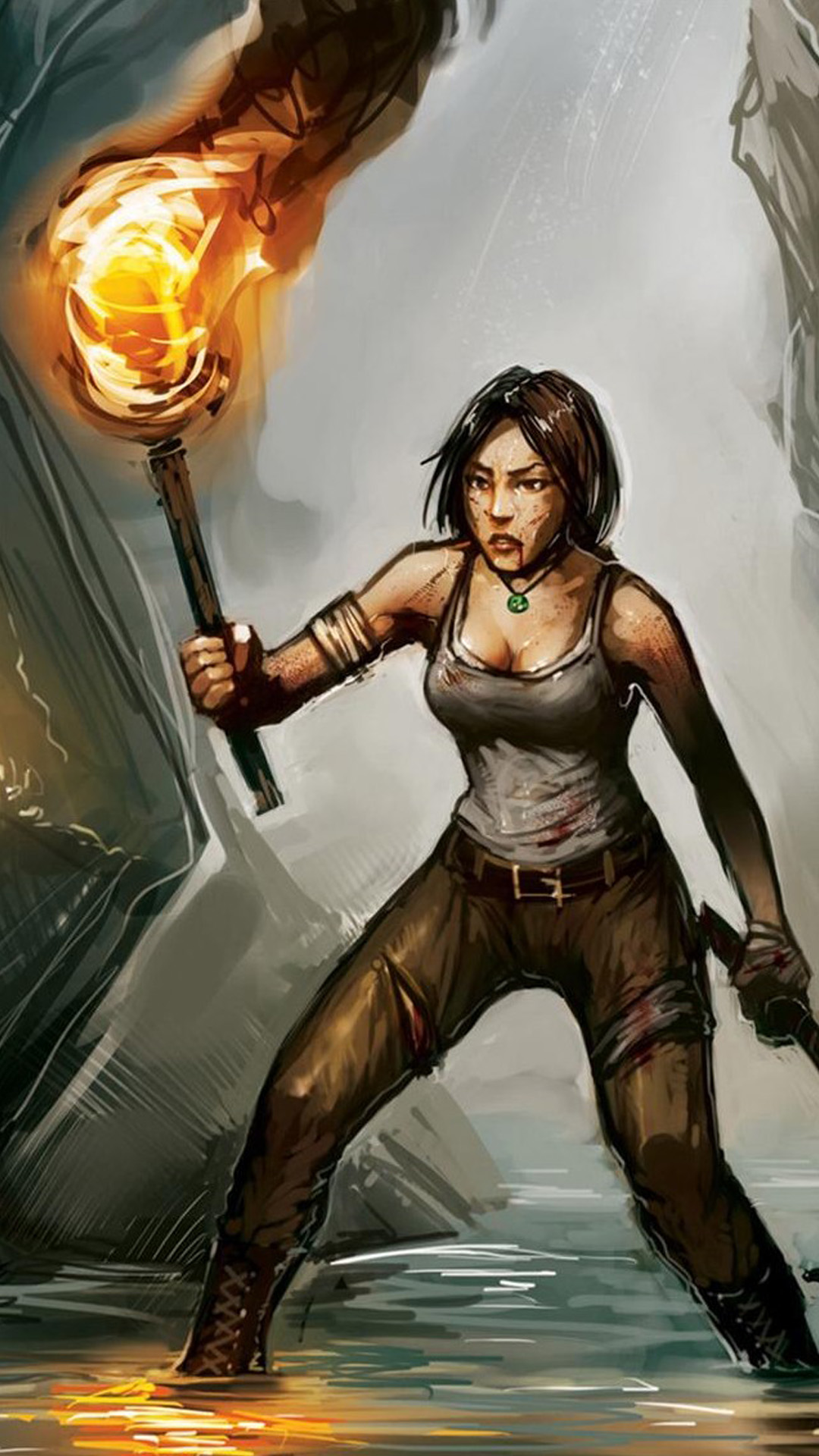 Lara Croft Art Anime Android wallpaper