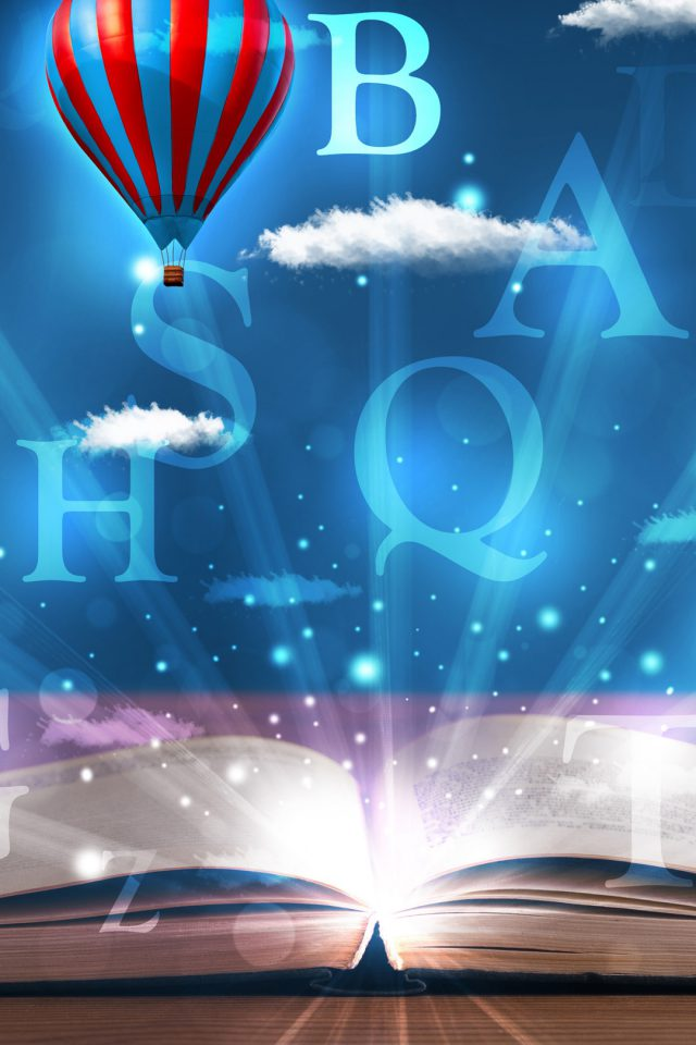 Open book with glowing fantasy abstract clouds and balloons Android wallpaper