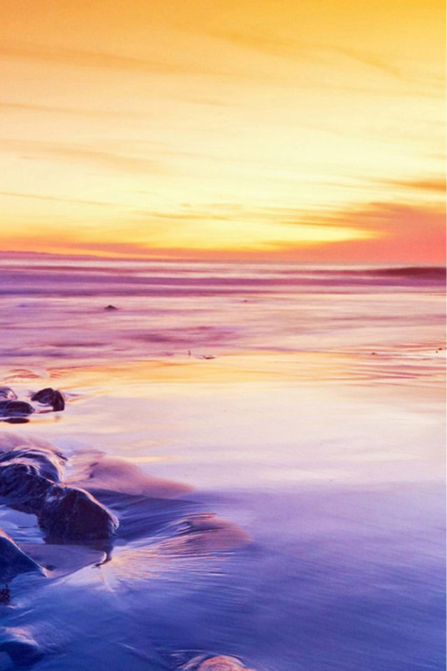 Sunset Beach Sea Android wallpaper