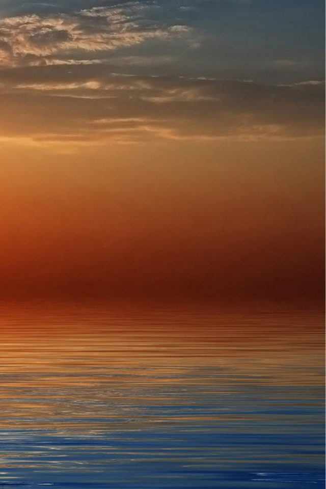 Beach Orange Sunset Android wallpaper