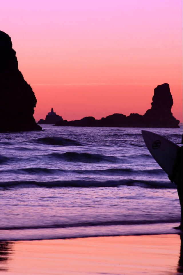 Surfer at Sunset, Cannon Beach, Oregon Android wallpaper