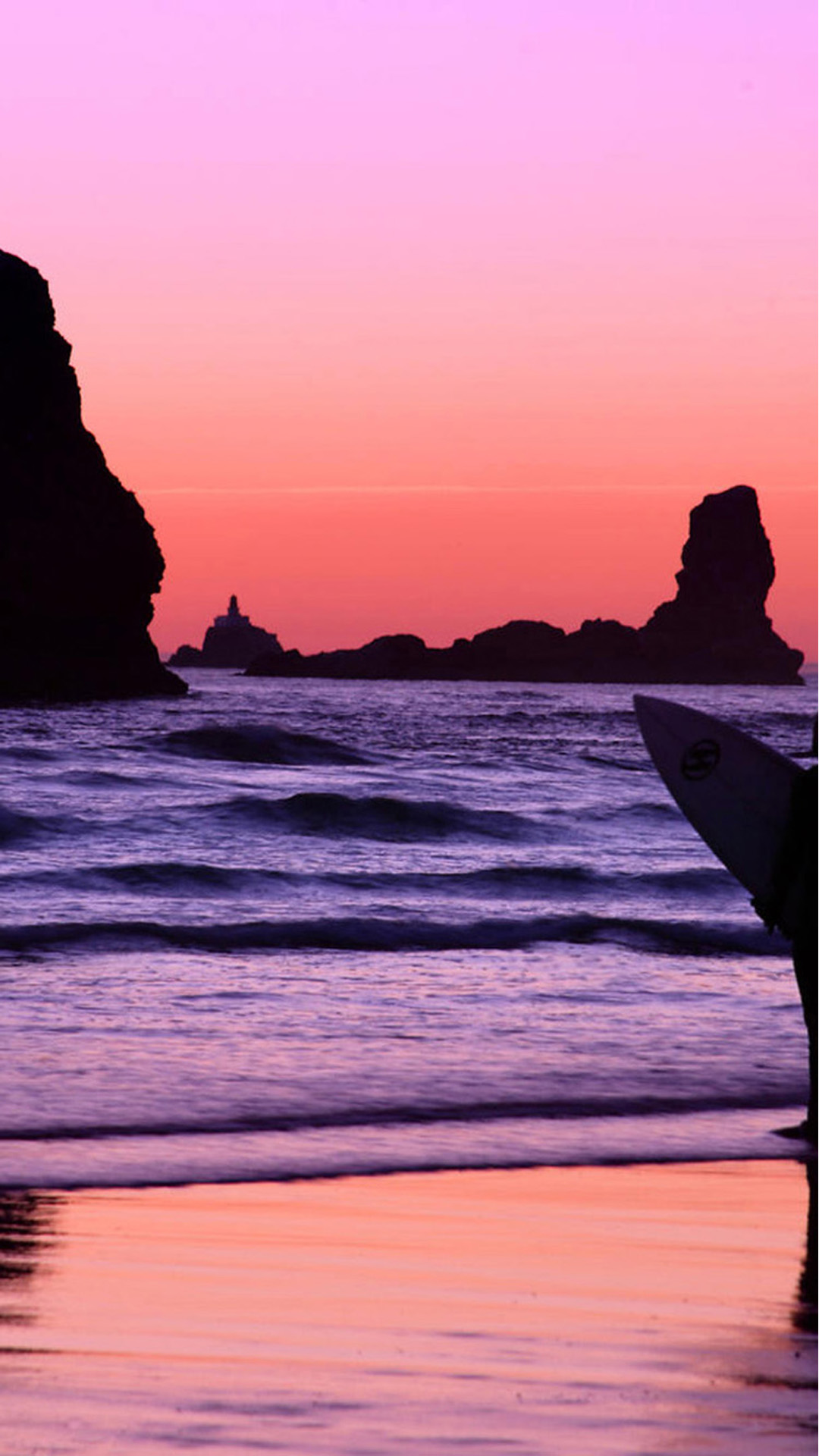 Surfer At Sunset Cannon Beach Oregon Android Wallpaper