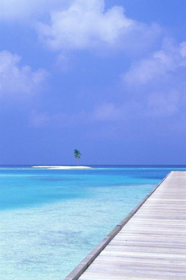 Tropical Island on Beach Android wallpaper