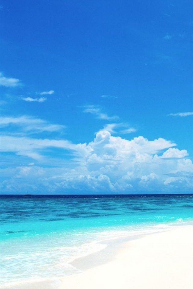 Blue Sea and White Beach Android wallpaper