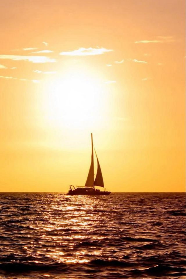 Sea Boat Sunset Android wallpaper