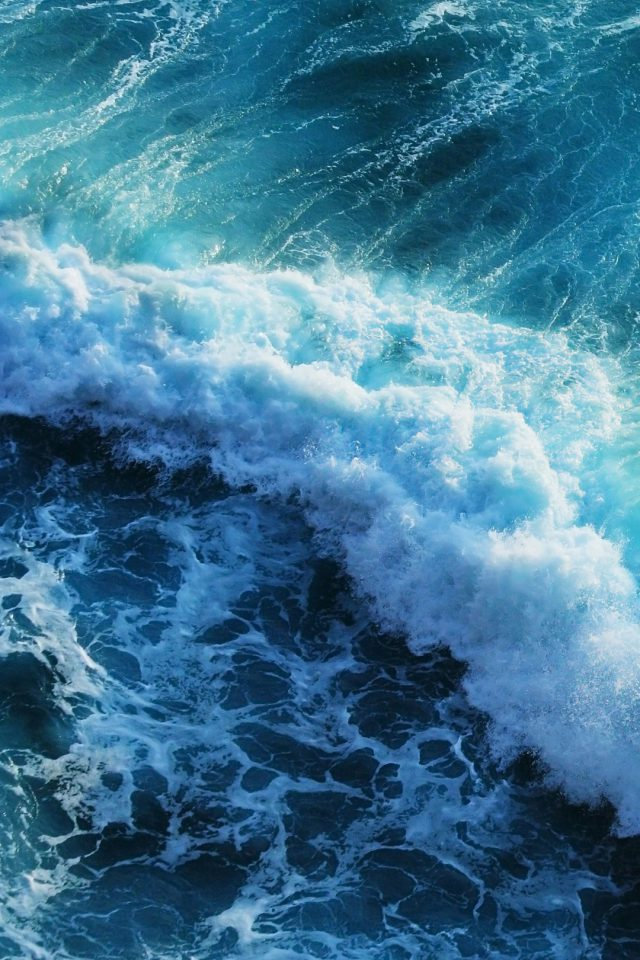 Beautiful blue waves Android wallpaper