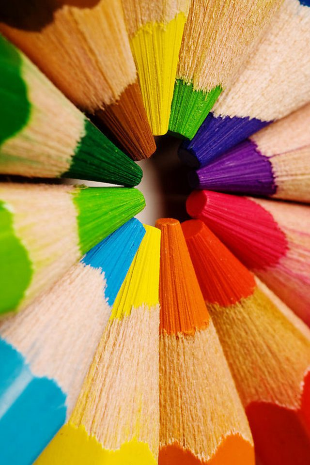 Colorful pencils-closeup Android wallpaper