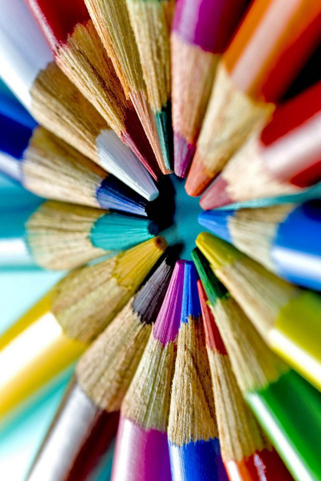 Colorful pencils-macro Android wallpaper