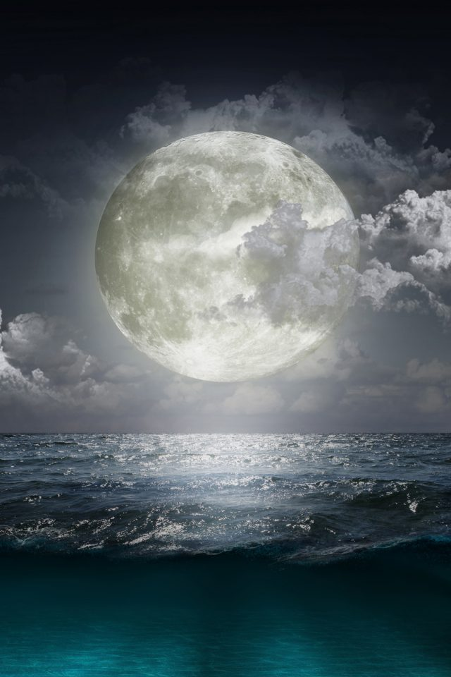 Creative Moon Beach Android wallpaper