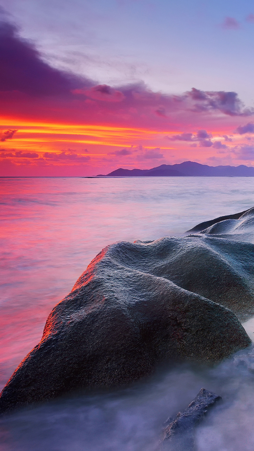 Rocks Beach Sunset Android Wallpaper