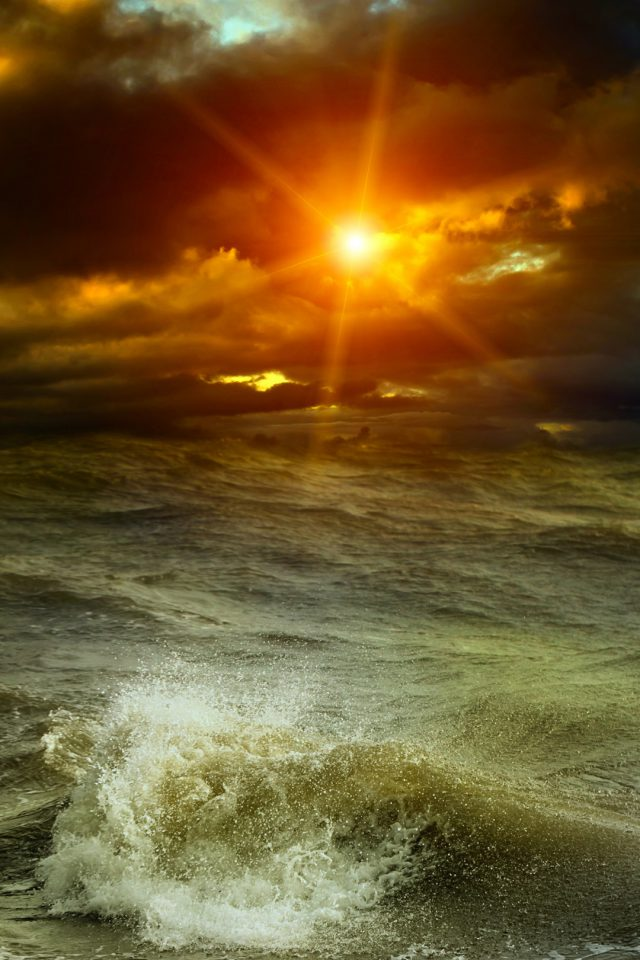 Sunset at sea Flares Android wallpaper