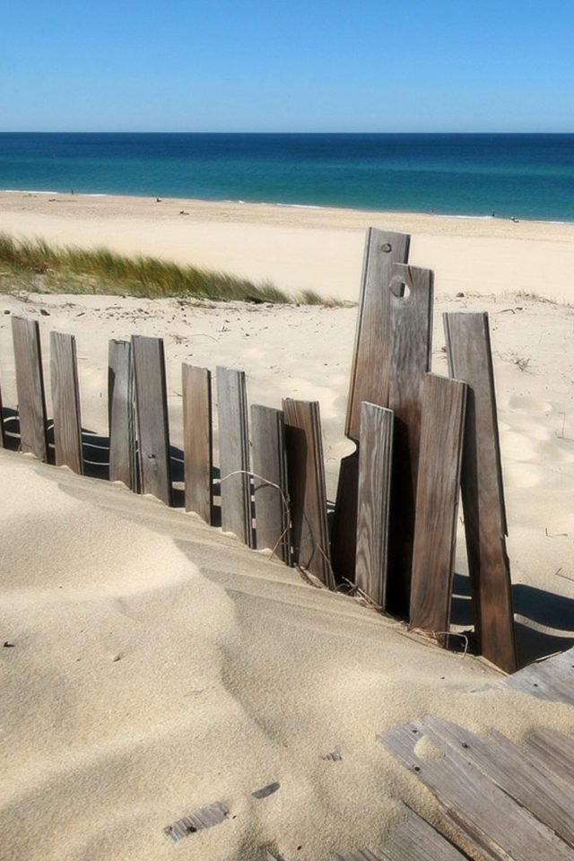 beach fence Android wallpaper