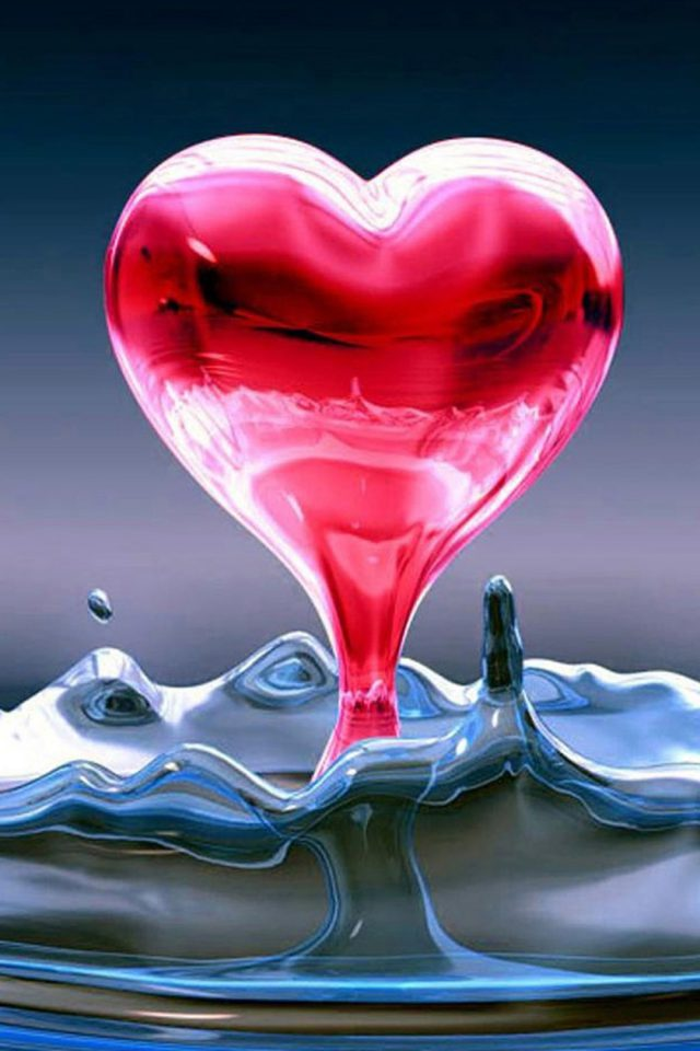 Water Drop Hearts Android wallpaper