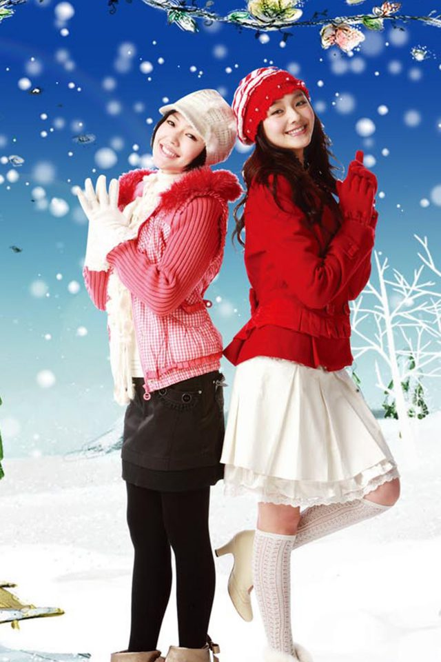 Christmas Girls Android wallpaper