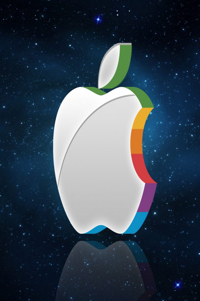 3D Apple Logo In Space Android wallpaper
