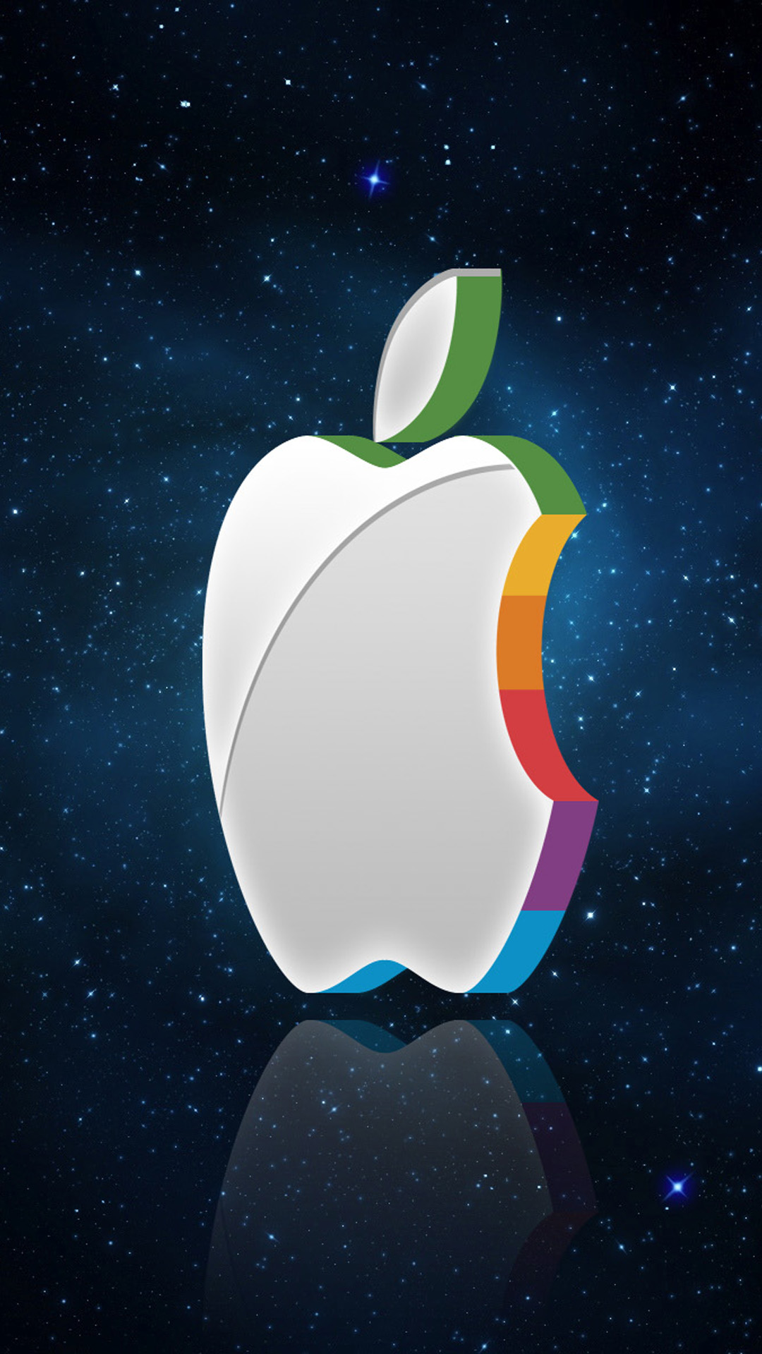 3d apple logo in space