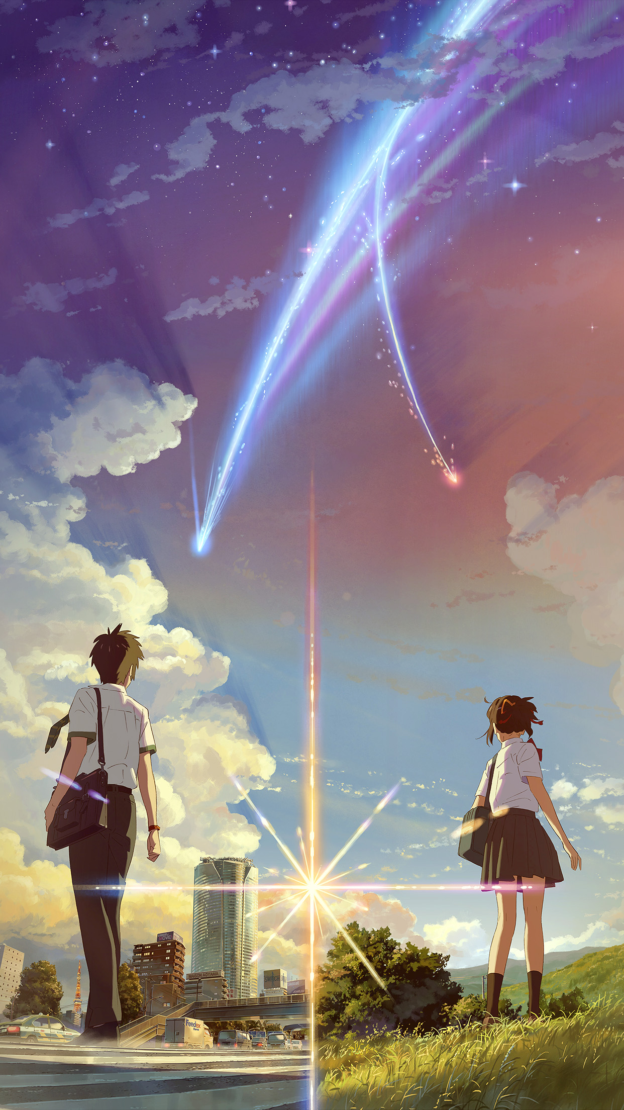 Kimi no Na wa Art Flames Android wallpaper