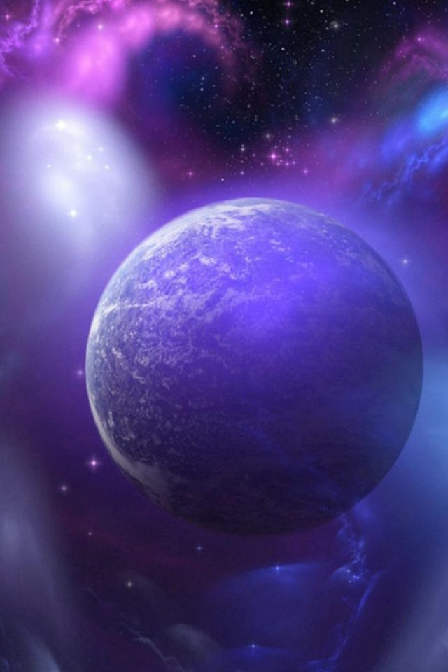 Purple Space Planet Android wallpaper
