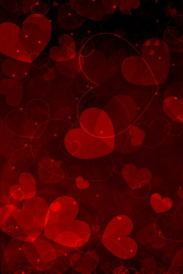 Red Hearts Art Valentine Android wallpaper