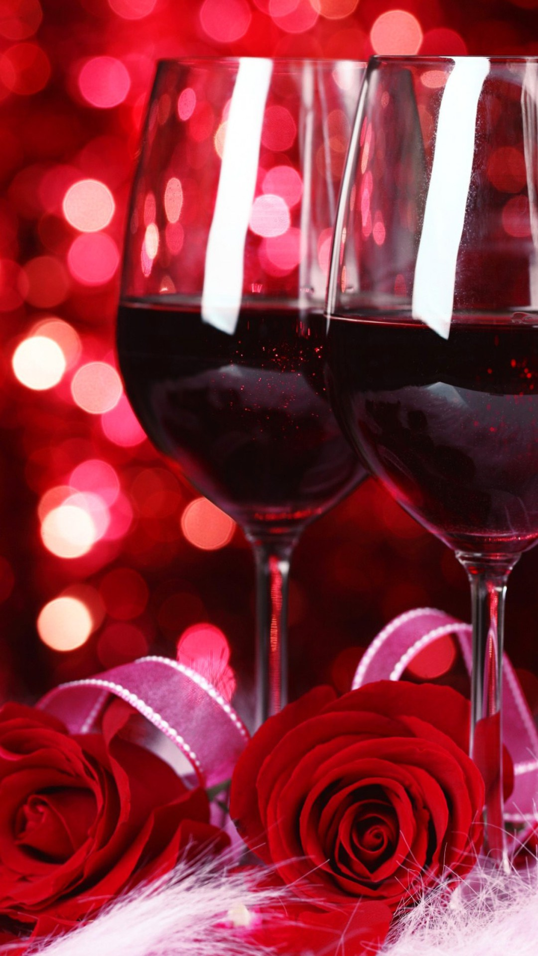 Valentine Wine And Roses Android wallpaper