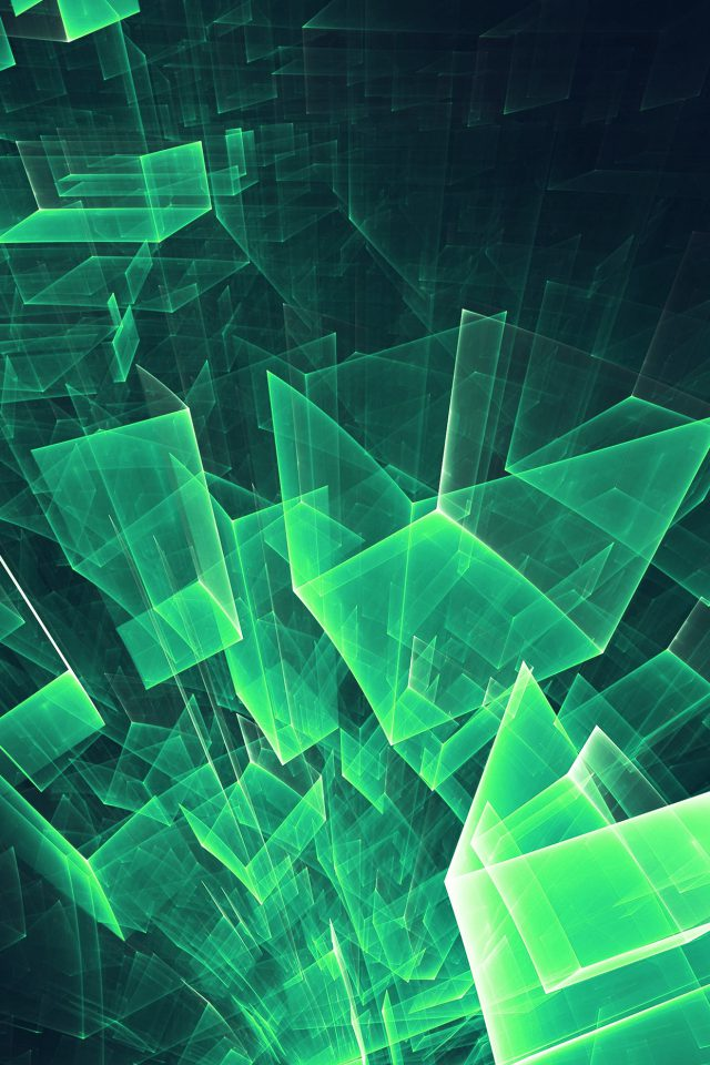 Abstract Blue Green Cube Pattern Android wallpaper