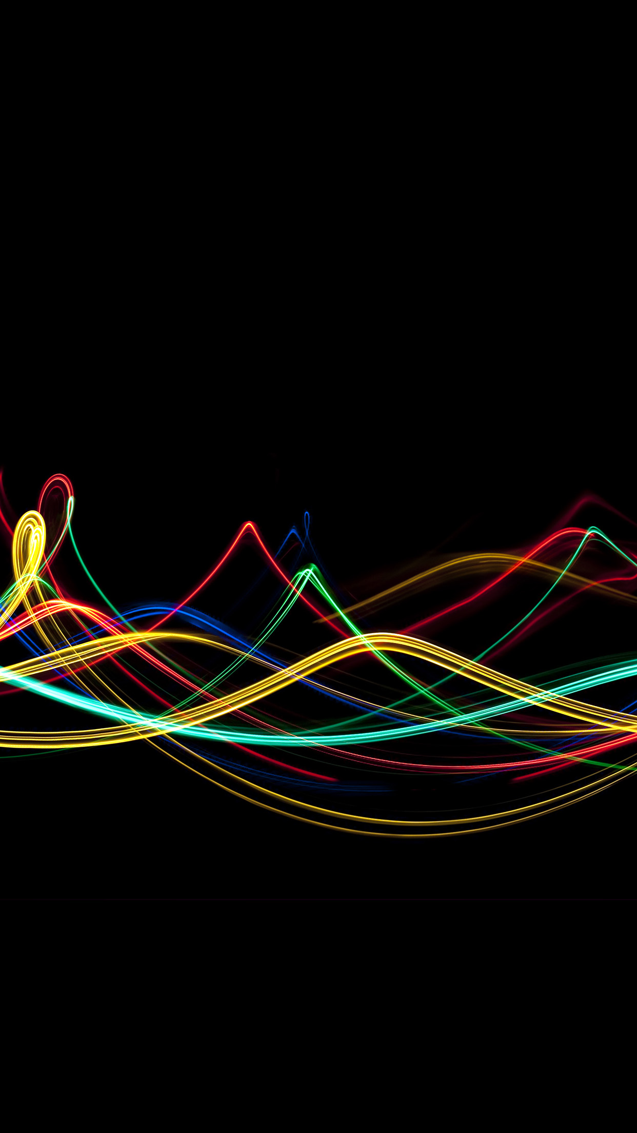 Abstract Curve Lines Rainbow Pattern Android wallpaper