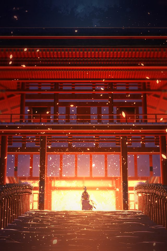 Anime Painting Temple Red Art Illustration Android wallpaper