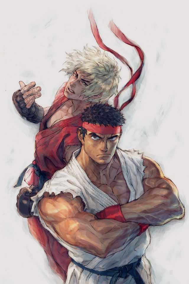 Anime Street Fighters Ryu Ken Art Illust Android wallpaper