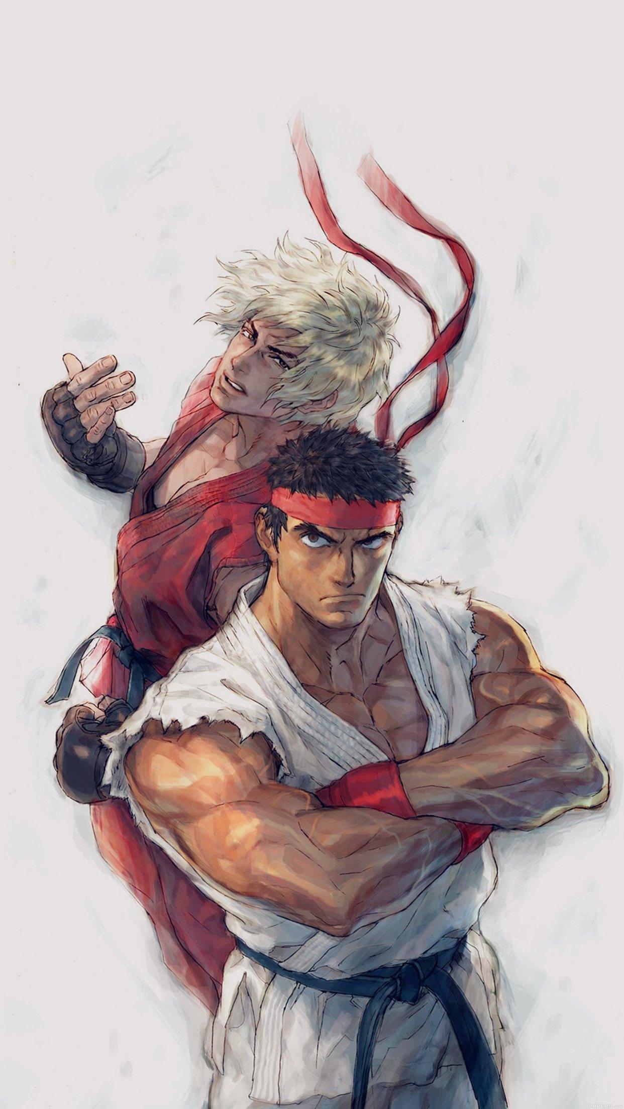 Anime Street Fighters Ryu Ken Art Illust Android Wallpaper