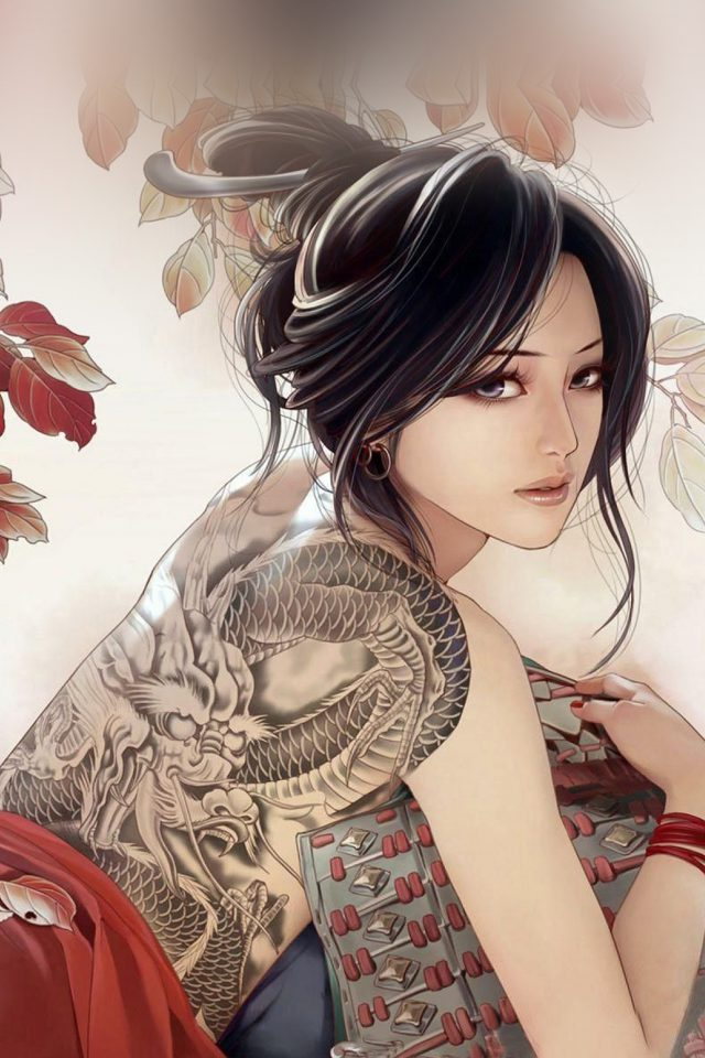 Anime Tatoo Girl Illustration Android wallpaper