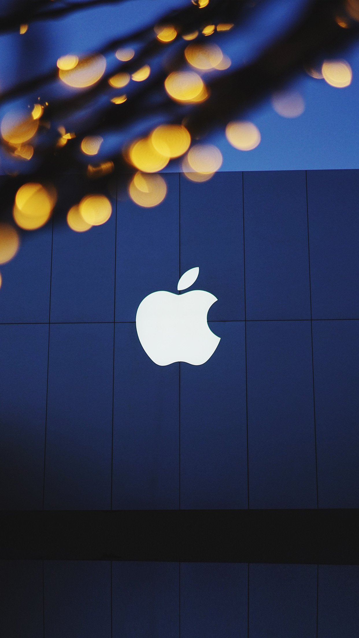 Apple Logo Blue Dark Android Wallpaper