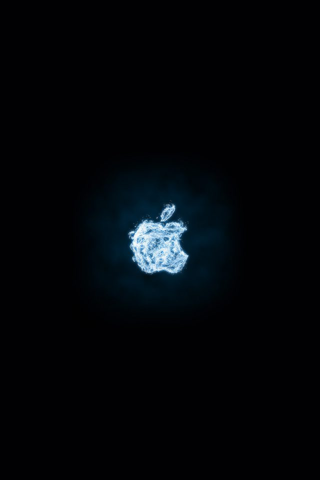Apple Logo Dark Water Blue Art Illustration Android wallpaper