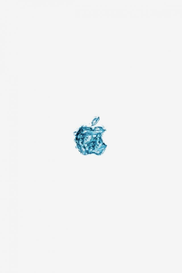 Apple Logo Water White Blue Art Illustration Android wallpaper