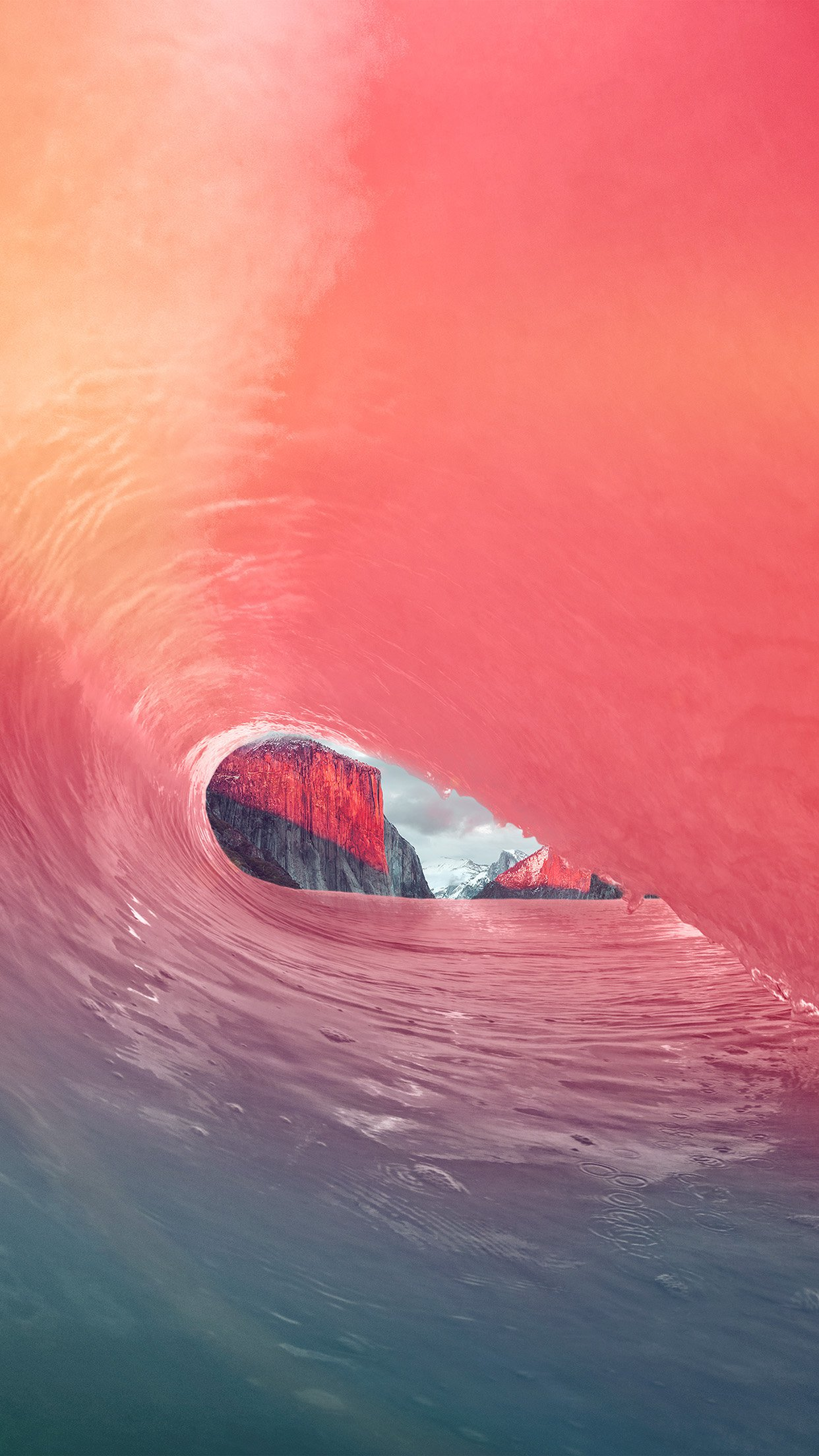 Apple Osx Yosemite Wave Rainbow Sea Pink Android wallpaper